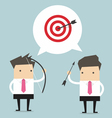Two Businessman and one target vector image vector image