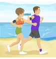 two young people jogging on beach drinking water vector image vector image