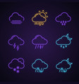 weather forecast neon light icons set vector image