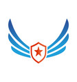 wings shield star logo vector image