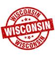 wisconsin red round grunge stamp vector image