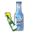 with beer bottle soda water isolated on mascot vector image
