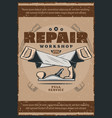 work tools and house repair equipment retro poster vector image vector image