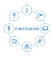 8 photograph icons vector image vector image