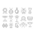 awards cups and medals icon set hand-drawn flat vector image vector image