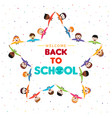 back to school card children group star shape vector image