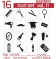 black barber icon set vector image