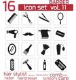 black barber icon set