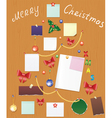 board with bauble bow holly berry and post vector image