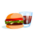 burger with cold drink vector image
