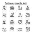 business people icon set in thin line style vector image vector image