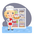 cartoon baker girl with cake vector image