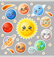 cartoon cute planets stickers happy planet face vector image vector image