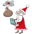 cartoon santa claus christmas character with drone vector image vector image