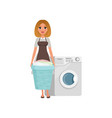 cheerful girl standing and holding laundry basket vector image vector image