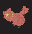 china map with flag pattern and province region vector image