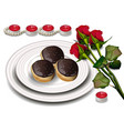 chocolate profiteroles and red roses vector image vector image