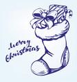 christmas sock santa claus decorative vector image vector image