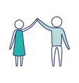 Color blue silhouette of sections pictogram couple