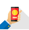 concept of paying bitcoins in a flat style pay vector image