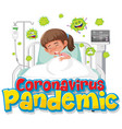 coronavirus pandemic banner with girl patient vector image vector image
