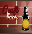 craft beer on a wooden table near a brick wall vector image