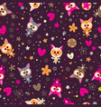 cute kittens and flowers seamless pattern vector image vector image