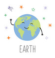 cute planet earth planet with hands and eyes vector image