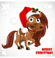 Cute Santa Horse on Christmas card vector image