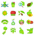 eco style icons set cartoon style vector image vector image