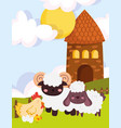 farm animals goat sheep hen and eggs house cartoon vector image vector image