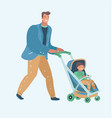 father walking with newborn child in a pram fun vector image vector image