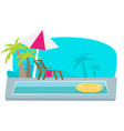 flat pool hotel summer vacation vector image vector image
