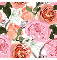 floral seamless pattern with pink creamy roses vector image