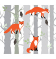 foxes and trees vector image vector image