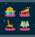 gift box with set icons of merry christmas vector image vector image