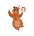 Girly Cartoon Brown Bear Character Wearing Party vector image vector image