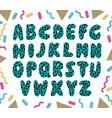 hand drawn green alphabet vector image vector image