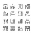 interior and furniture icon set vector image vector image