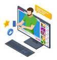 isometric video blogger recording video vector image