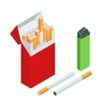 Lighters cigarettes pack cigarette isolated vector image vector image