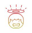 line tender happy angel head with aureole design vector image