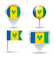 Map pins with flag of Saint Vincent and the vector image vector image