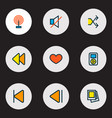 media icons colored line set with gallery vector image vector image
