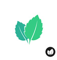 mint leaves logo two leaves of a with one vector image