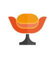 modern stylish orange armchair with black leg vector image