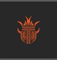 monogram letter t logo in flames fire heraldic vector image vector image