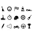 motor race icons set vector image vector image