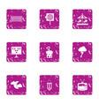 night parkland icons set grunge style vector image