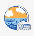 ocean waves with lanscape clouds design vector image vector image